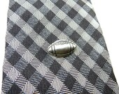 Football Tie Tack- Sterling Silver Ox Finish- Gifts For Men- Sports Gifts