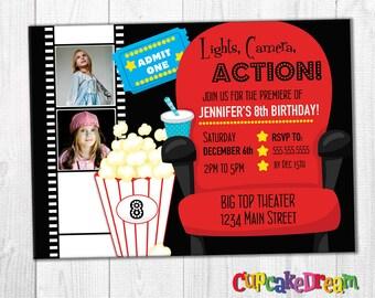 Movie Invitation, Movie Party, Movie Ticket Invitation