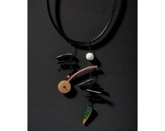 Black Leather Cord Necklace, Amber Rondelle, Black Coral Sticks