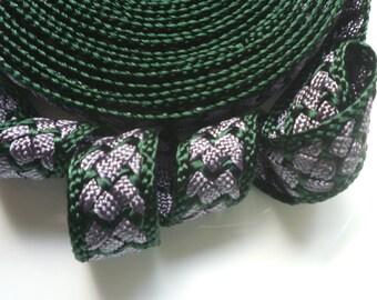 Moroccan trim, dark green and dark gray art silk , woven 5 metres