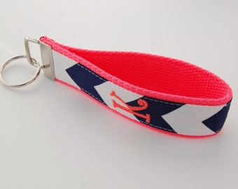 Monogrammed Chevron Keychain - Design Your Own - Navy White Coral Key Fob
