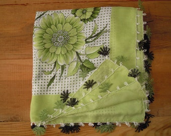 Green scarf, needle lace edging, turkish oya