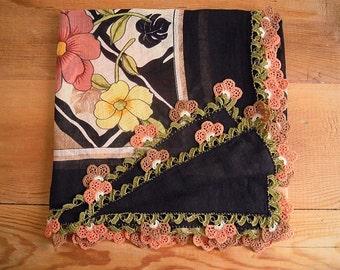 cotton turkish scarf with crochet flower trim