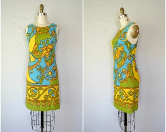 1960s acid green psychedelic shift dress / teal and yellow mini tank dress / xs