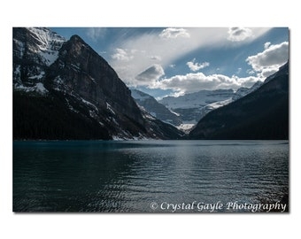 Alberta Mountain Picture ~ Lake Louise ~ Canadian Rockies Landscape Photography, Blue Mountain Lodge Decor, Serene Lake House Wall Art Print