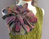 Felted wool flower pin brooch corsage pink green blue coral- Dramatic quirky large huge