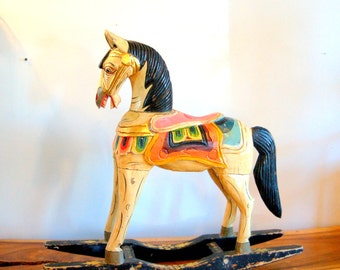 Vintage Hand Carved, Beautifully Hand Painted Balinese / Indonesian Rocking Horse Aged & Chippy
