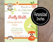 Spring Family, Baby Shower Invitations or Birthday Invitations, Set of 10 Printed Invitations with envelopes