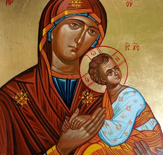 Madonna with Christ child Icon,original handpainted icon of Virgin Mary and Baby Jesus - 8 by 10 inches