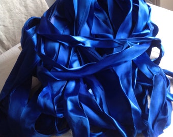 Blue French Satin Tape. Deep Blue Ribbon / Vintage Trim. 10 yards / Millinery Ballet Dolls Sewing Supplies. Old New Stock!