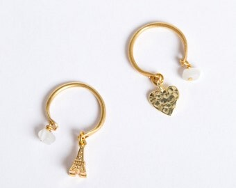 Adjustable Gold Ring | Dangle ring | Dangling charm ring | Gold pinky ring | Love Heart Ring | Eiffel Tower Paris ring | Adjustable ring
