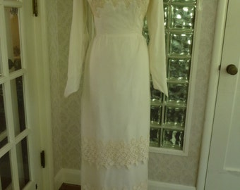 Vintage 1960s 60s Ivory Chiffon Column Wedding Dress Princess Lace Bust Wedding Dress XS XSmall
