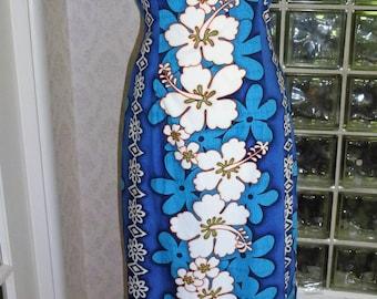 Vintage Royal Creations Hawaiian Dress Cotton Blue Flower Print Column Maxi Dress XS Xtra Small S Small