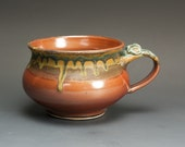 Handmade stoneware soup or chili mug iron red and blue green 20 oz 2650