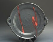 Clearance sale - Handmade pottery stoneware platter soft black 3096