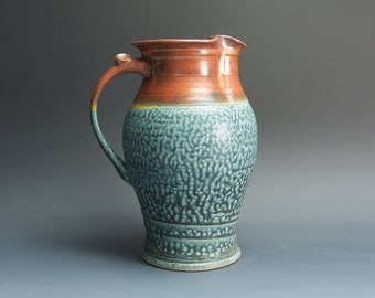 Handcrafted pottery pitcher, stoneware vase 48 oz. 3460