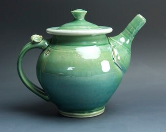 Sale - Handmade pottery teapot stoneware tea pot 40 ounce jade green 3531
