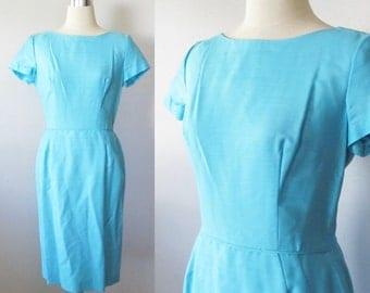 Vintage 1950's Aqua Blue Wiggle Dress / Formal Hourglass Figure Party Dress / Size Small