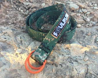 Soulrun Skinny Belt - Woodland Camo with Orange D-rings