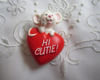 "Vintage Hallmark Red Valentine Brooch ""Hi Cutie"" with White Mouse"
