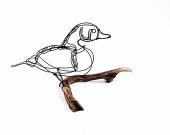 Duck Wire Sculpture, Wood Duck Sculpture, Bird Wire Art, Minimal Sculpture, Duck Art