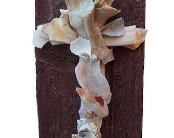Unique Rustic Cross / Old Barn Wood and Seashell Cross / Sculptured Original Wall Crucifix / Christian Decor
