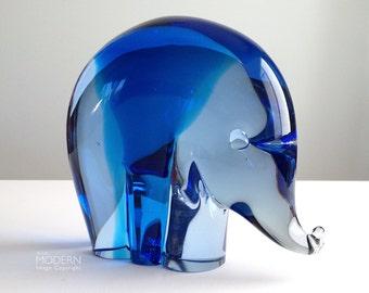 Salviati Murano Luciano Gaspari Italian Blue Glass Elephant Figurine Paperweight