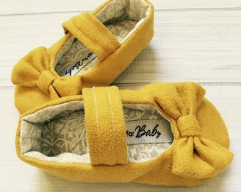 Girls micro suede shoes with bow and strap mustard yellow infant toddler maryjanes