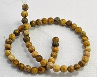 Picture jasper round beads, 4mm - #1733