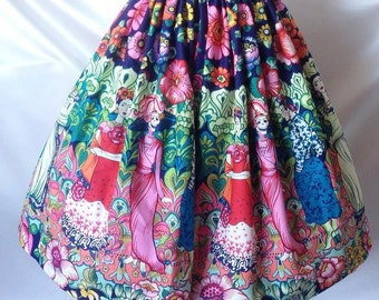 Large scale border print inspired artwork by Frida Kahlo full gathered skirt.  Made to measure