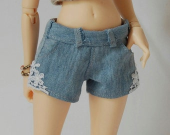 Mix and match - denim shorts with lace for FR16 Tonner Minifee MSD BJD 1/4 scale