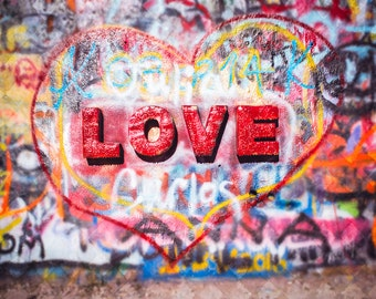 Graffiti Art Photo, Love, Fine Art Photography, Heart, Modern Wall Decor, Spray Paint, Hip Hop Culture, Street Art, Urban Photo, Anniversary