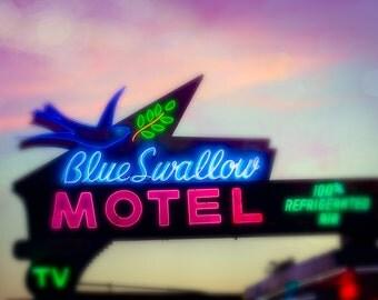 Fine Art Photograph, Route 66 Neon Sign, Wall Art, New Mexico Print, Motel Sign, mid century modern decor, Retro, Man cave art, Americana,