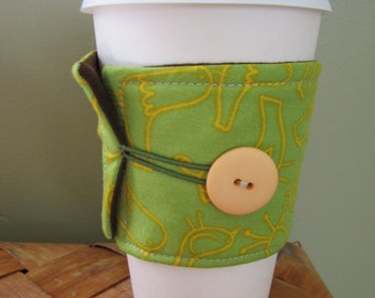 Green Birds Sleeve Cup Cozy