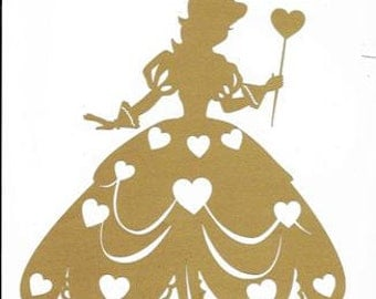 Princess with hearts silhouette