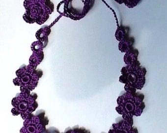 Deep Purple Crochet Flower Necklace with Swarovski Crystal