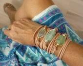 Chunky Sea Green Boho Long Leather Wrap Bracelet Fluorite Amazonite Aquamarine Glass Nugget
