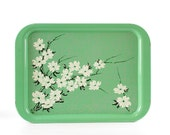 Vintage Metal Tray, Green Floral Serving Tray, Dogwood Blossom, Spring Decor, Garden Party, Set of Six
