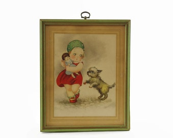 Vintage Art Print, Hannes Petersen, Girl with Dog, Girl with Doll, Framed Art Print, Nursery Decor