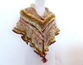 Brown Knit Cape , Triangle knit Shawl , Hand knit shawl, hand knitted wrap, Brown Knit Poncho