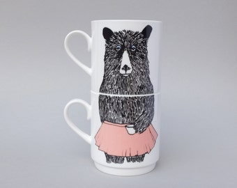 Mrs Bear Stackable Tea Mugs