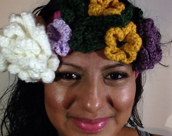 Crochet Flower crown / Headband / crown/ Sugar Skull headpiece / Wedding / Spring / Coachella / Head piece