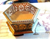 Vintage Jewelry Casket Matson Jewelry Box Gold Gilt Vanity Box Vintage Accessory