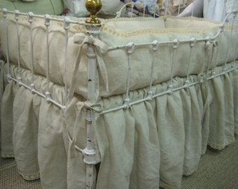 READY NOW-Neutral Linen Crib Bedding-Crib Bumpers and Gathered Skirt in Oatmeal Handkerchief Linen with Cotton Crochet Detail in Ecru