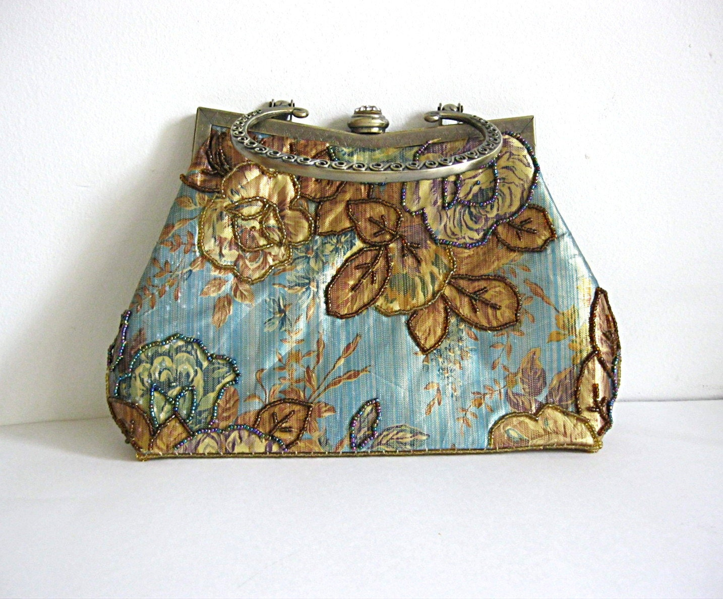 Vintage Floral Clutch Blue And Gold Evening Bag Small Floral
