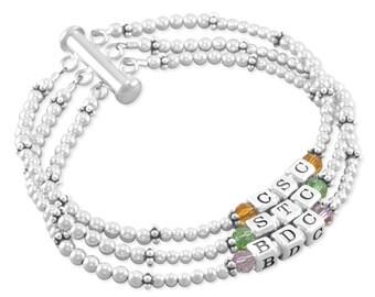 Mothers Name Bracelet, Mom jewelry. Sterling Silver. For wife Nana,  Personalized Birthstone kids grandchildren names, jewelry, multi CARRA