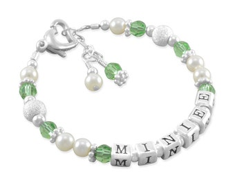 Childs Name Bracelets, sterling silver, keepsake bracelet, girl gifts, baby shower gift birthstone birthday, little girls personalize MINIEE