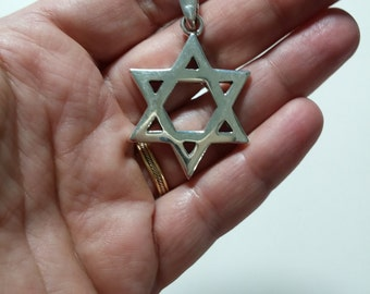 Sterling Silver Large Star of David Pendant, Unisex Judaica David Star Charm