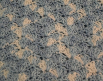 Crocheted shell stitch blue and white variegated baby boy afghan or lap robe