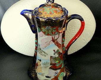 Vintage Porcelain Kutani Style Cobalt Blue Gilt Chocolate Pot Pictorial Hand Painted
